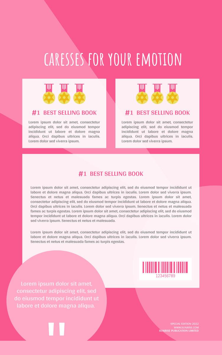 Book Cover template: Emotions Caresses Book Cover (Created by InfoART's Book Cover maker)