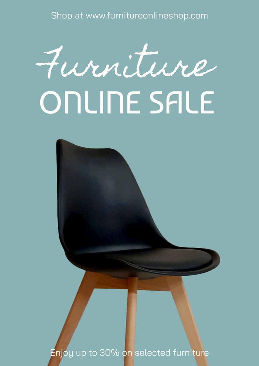Poster template: Simple Blue Furniture Online Store Poster (Created by InfoART's Poster marker)