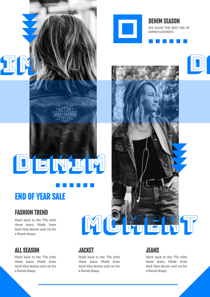 Poster template: Denim End Of  Year Sale Poster (Created by InfoART's Poster maker)