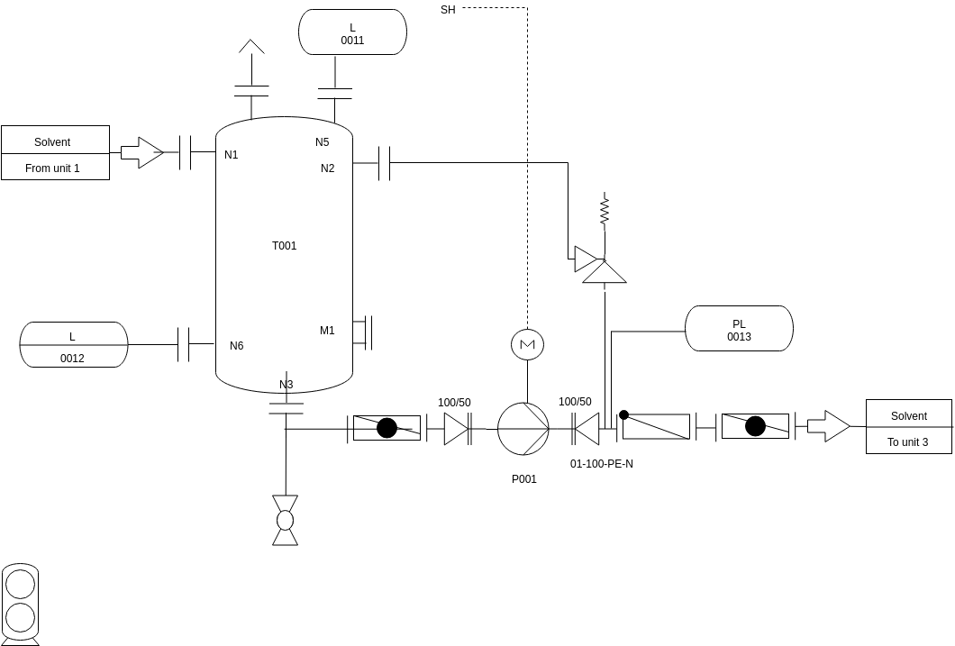 Piping And Instrumentation Diagram template: Pump with Storage Tank (Created by Diagrams's Piping And Instrumentation Diagram maker)