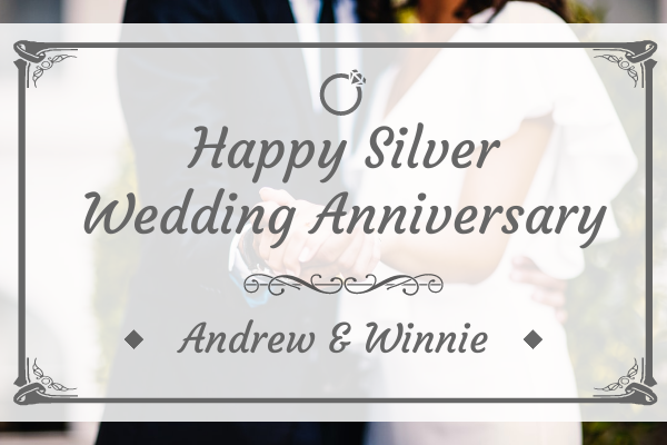 Greeting Card template: Happy Silver Wedding Anniversary Greeting Card (Created by InfoART's Greeting Card maker)
