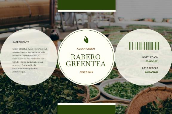 Label template: Green Tea Bottle Product Label (Created by InfoART's Label maker)