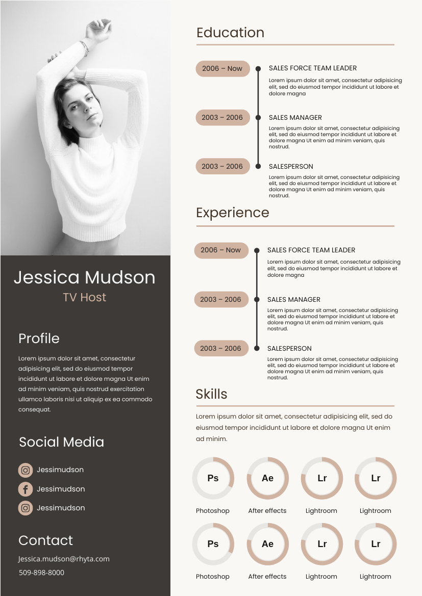 Resume template: Brown-pink Resume (Created by InfoART's Resume maker)