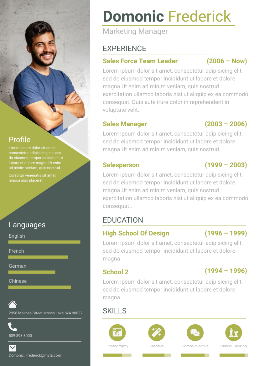 Resume template: 2 Columns Green Resume (Created by InfoART's Resume maker)