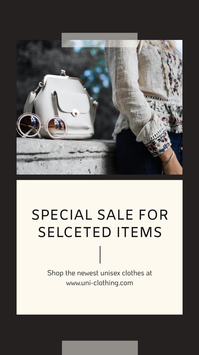 Instagram Story template: Black Fashion Photo Special Sale Instagram Story (Created by InfoART's Instagram Story maker)