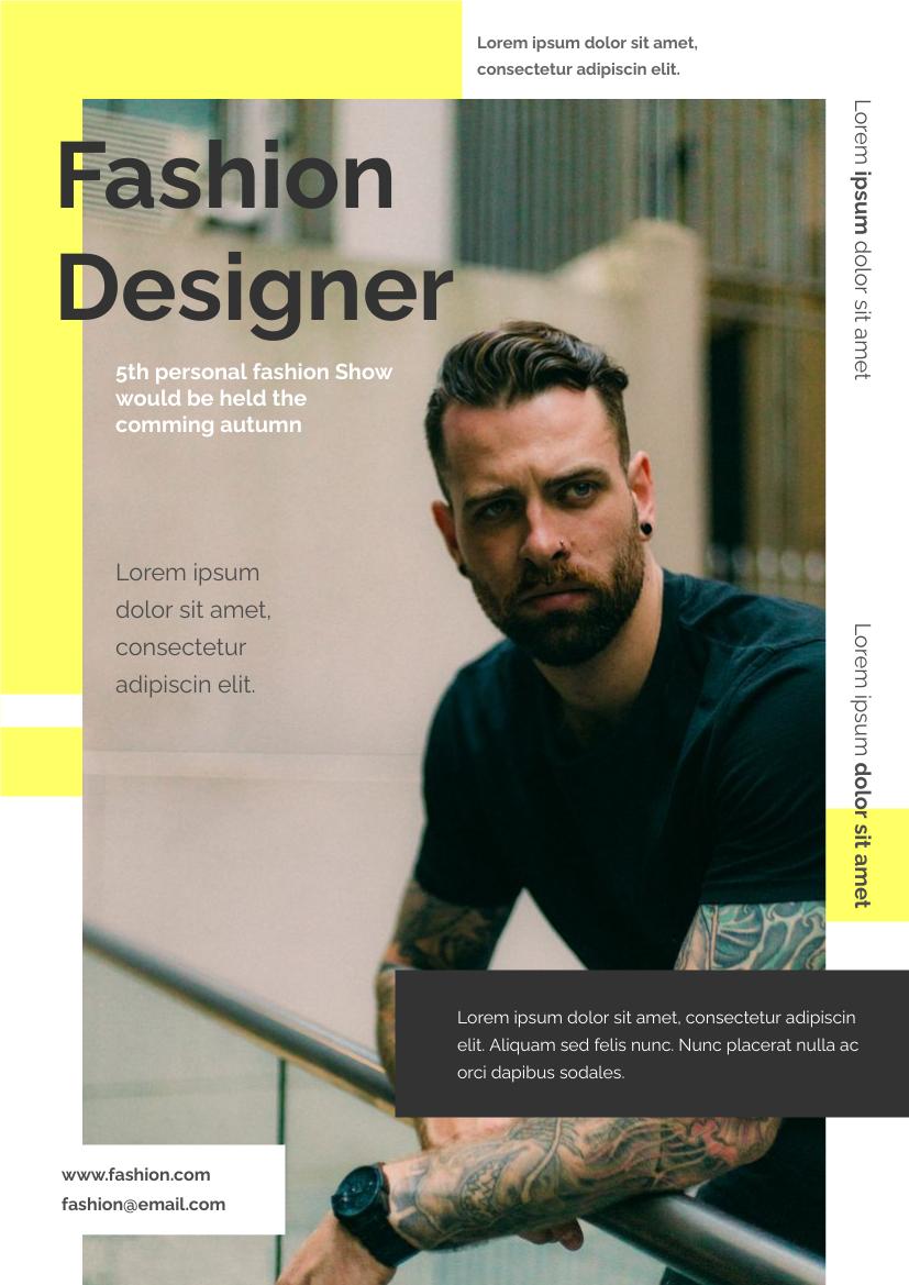 Flyer template: Fashion Designer Flyer (Created by InfoART's Flyer maker)