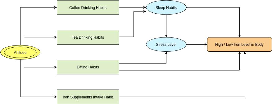 Influences Upon Body Iron Level (Influence Diagram Example)