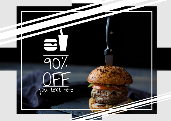 Gift Card template: buger 90% off (Created by InfoART's Gift Card maker)