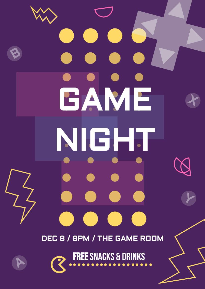 Flyer template: Game Night Flyer (Created by InfoART's Flyer maker)