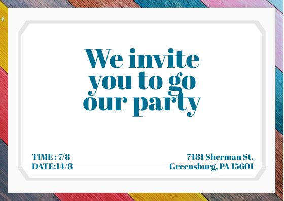 Postcard template: Colorful Invitation (Created by InfoART's Postcard maker)