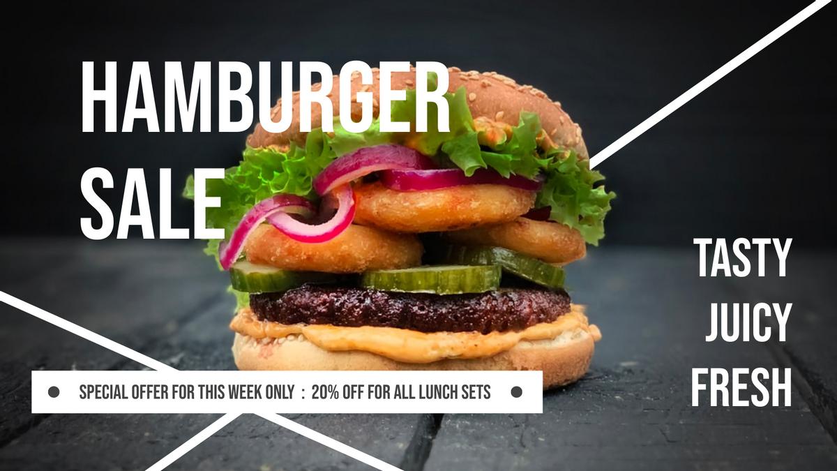Twitter Post template: Hamburger Sale Twitter Post (Created by InfoART's Twitter Post maker)