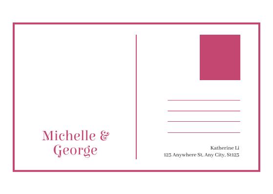 Postcard template: Pink Floral Photo Wedding Postcard (Created by InfoART's Postcard maker)