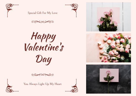 Gift Card template: Pink Floral Photos Happy Valentines Day Gift Card (Created by InfoART's Gift Card maker)
