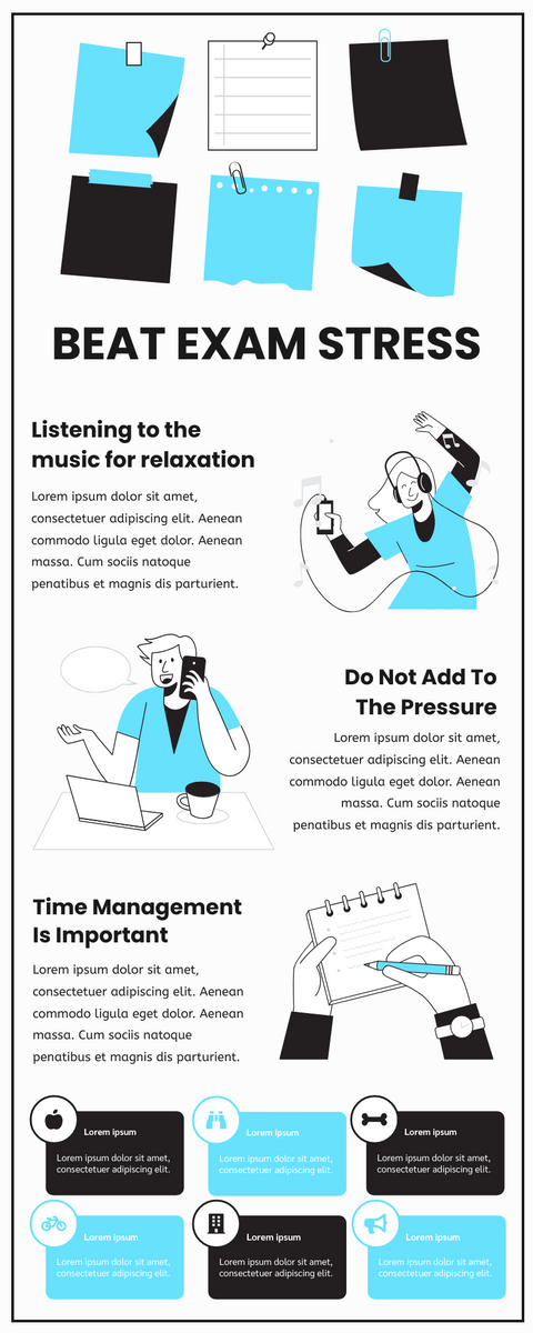 Infographic template: Beat Exam Stress Infographic (Created by InfoART's Infographic maker)