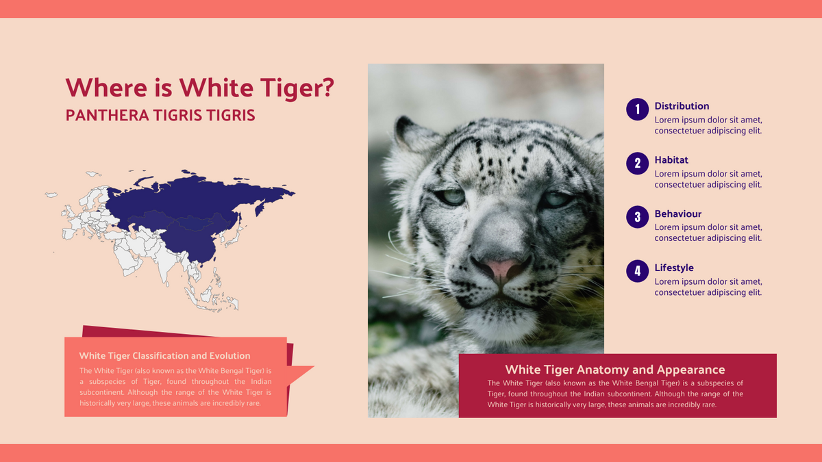 Geo Map template: White Tiger Extinction Geo Map (Created by Chart's Geo Map maker)