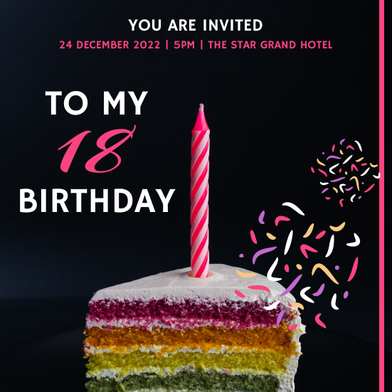 Invitation template: Pink Neon Cake 18 Birthday Invitation (Created by InfoART's Invitation marker)