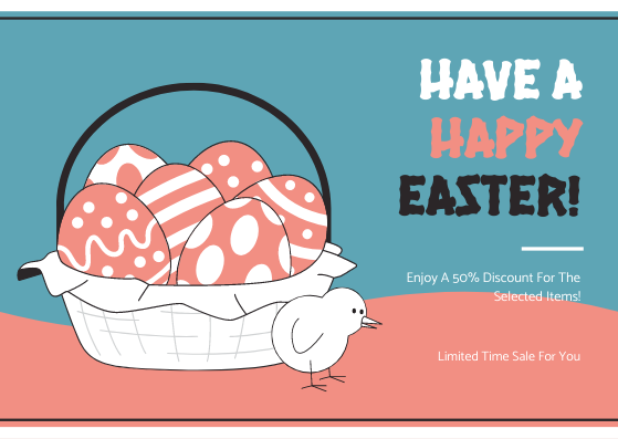 Gift Card template: Pink And Blue Easter Egg Sale Gift Card (Created by InfoART's Gift Card maker)