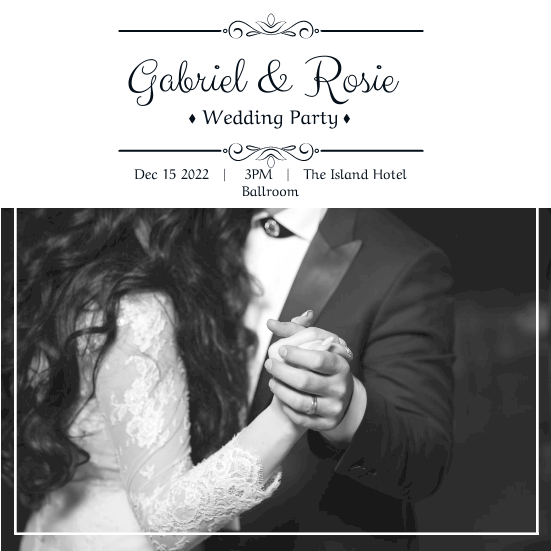 Invitation template: Black And White Romantic Wedding Party Invitation (Created by InfoART's Invitation marker)