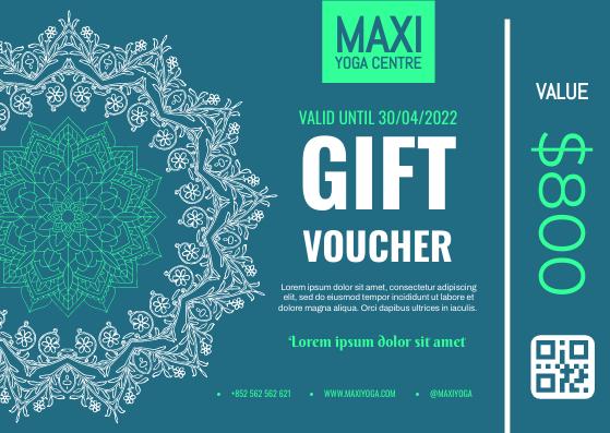 Gift Card template: Yoga Class Voucher Gift Card (Created by InfoART's Gift Card maker)