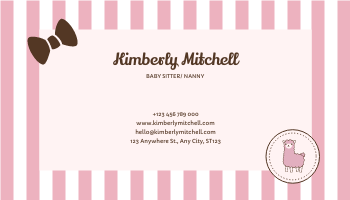 Business Card template: Baby Pink Alpaca Cute Illustration Business Card (Created by InfoART's Business Card maker)