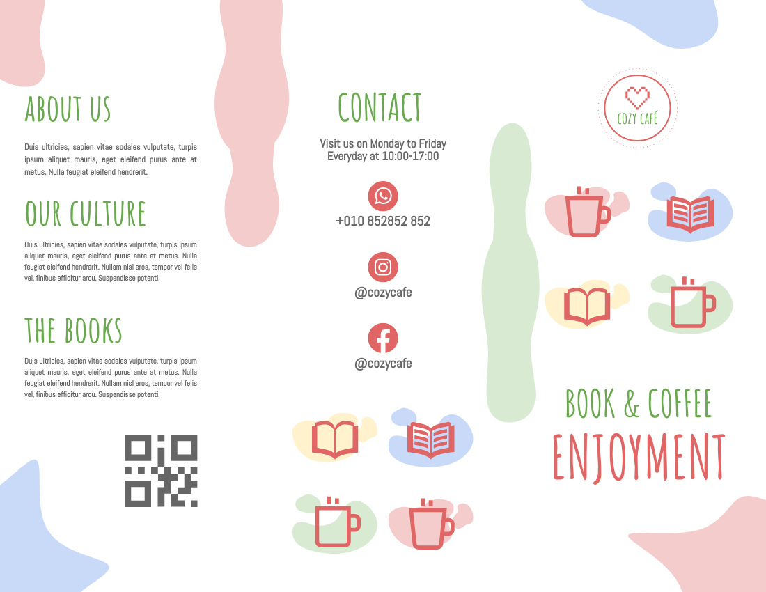 Brochure template: Book And Coffee Cosy Café Brochure (Created by InfoART's Brochure maker)