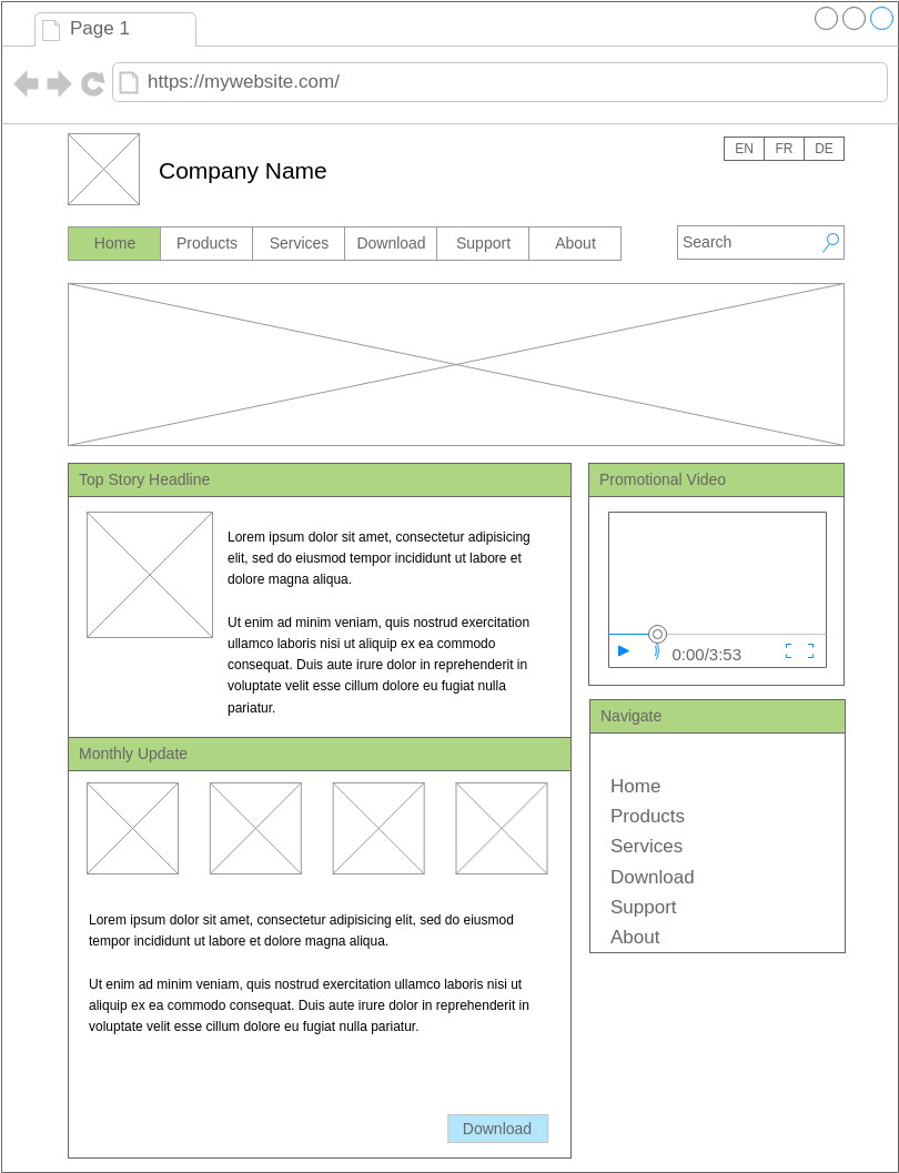 Mockups Wireframe template: Landing Page Layout (Created by Diagrams's Mockups Wireframe maker)