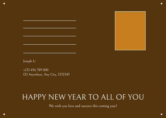 Postcard template: Orange Brown Foodies Photo New Year Postcard (Created by InfoART's Postcard maker)