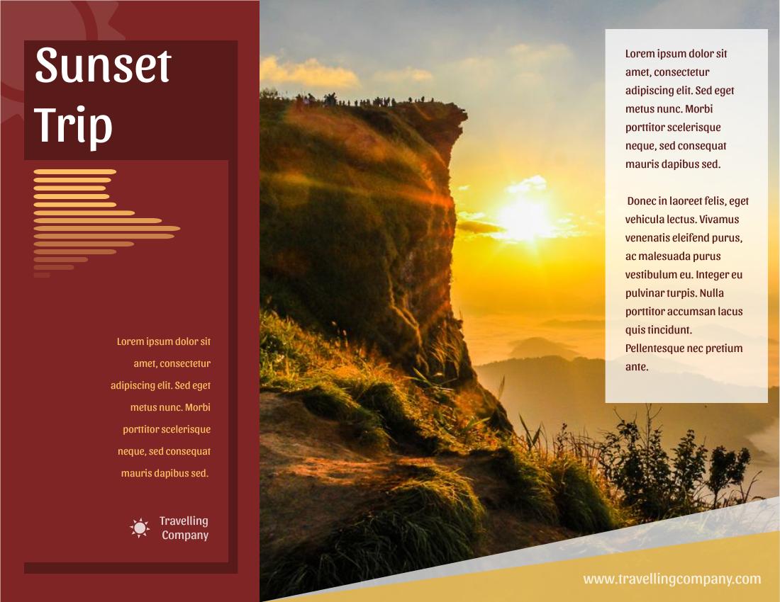 Brochure template: Sunset Travelling Brochure (Created by InfoART's Brochure maker)