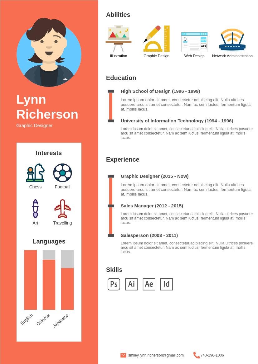 Resume template: Fancy Resume (Created by InfoART's Resume maker)