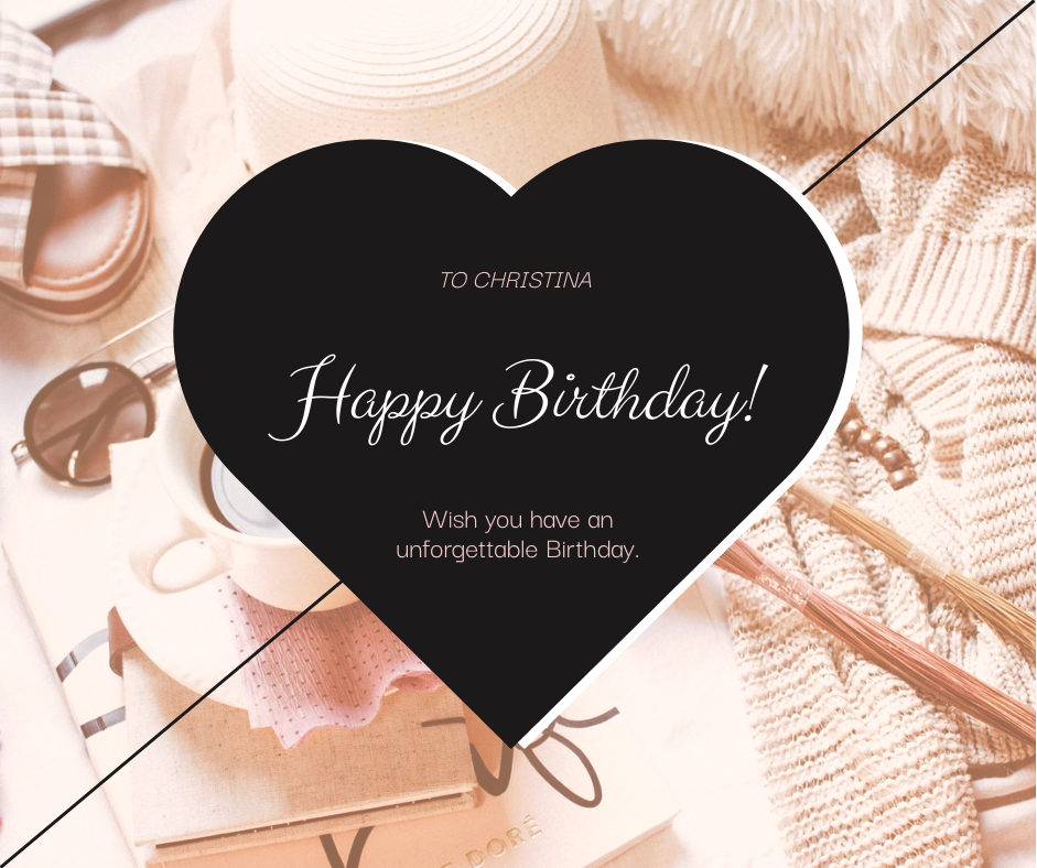 Facebook Post template: Black Heart With Photo Birthday Facebook Post (Created by InfoART's Facebook Post maker)