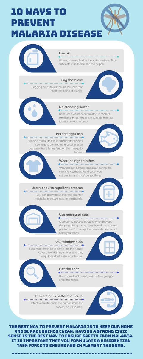 Infographic template: 10 Ways To Prevent Malaria Disease Infographic (Created by InfoART's Infographic maker)