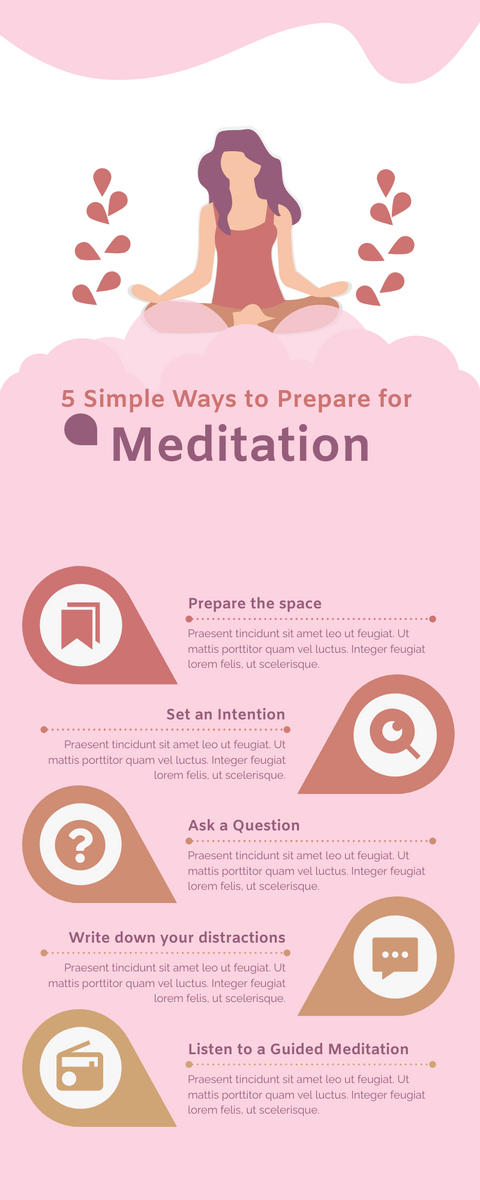 Infographic template: Meditation Infographic in Pink (Created by InfoART's Infographic maker)