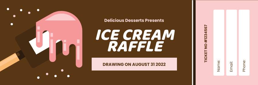 Ticket template: Ice Cream Raffle Ticket (Created by InfoART's Ticket maker)