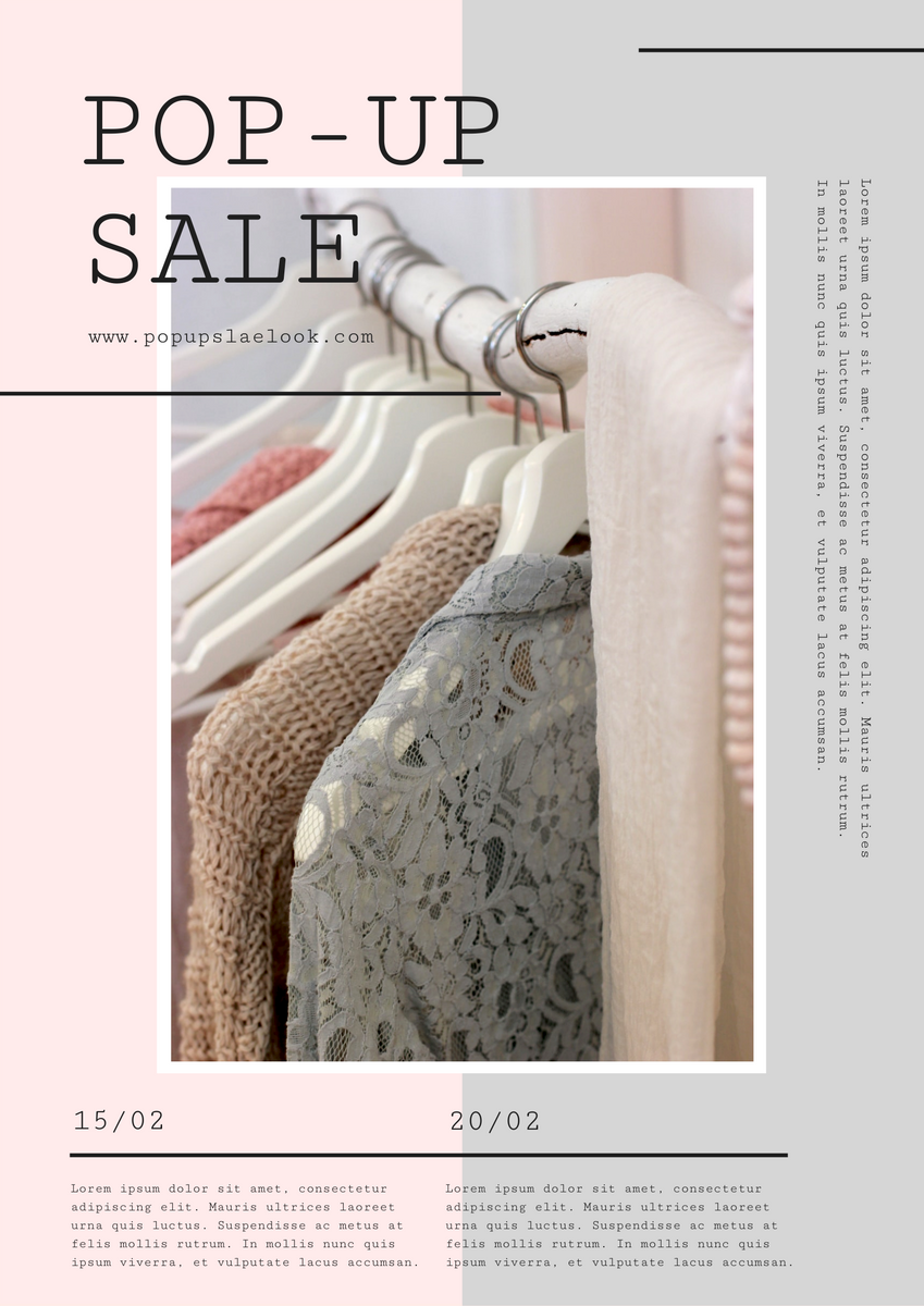 Poster template: Grey And Pink Soft Photo Pop Up Sale Poster (Created by InfoART's Poster maker)