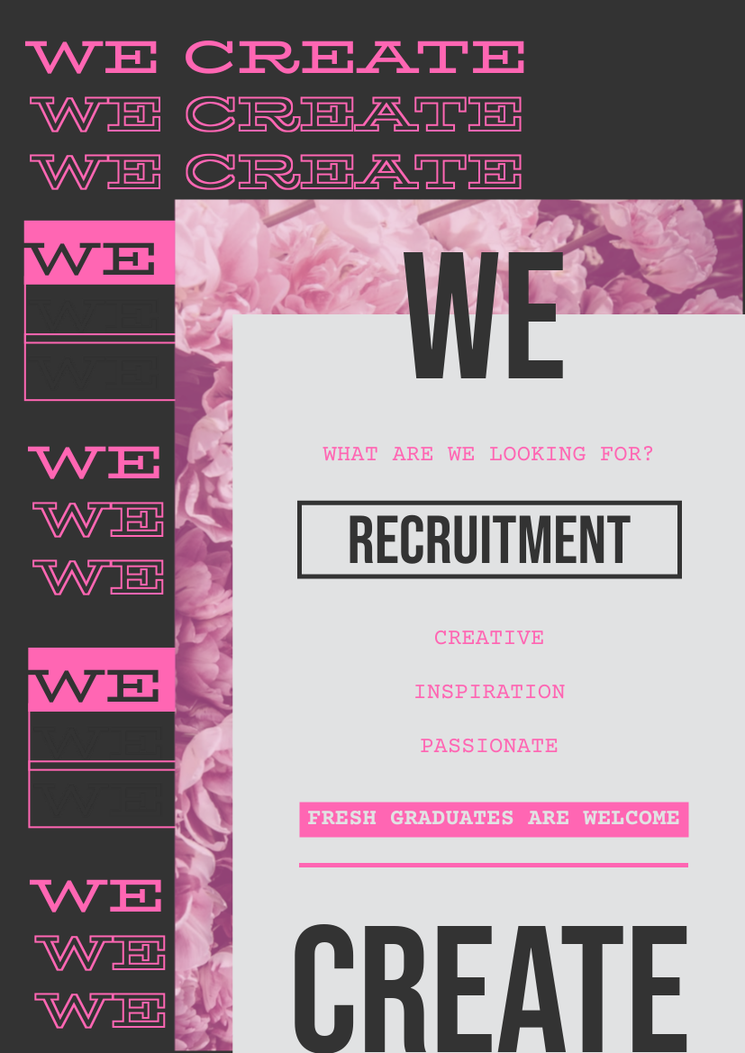 Flyer template: Neon Pink Creative Recruitment Flyer (Created by InfoART's Flyer maker)