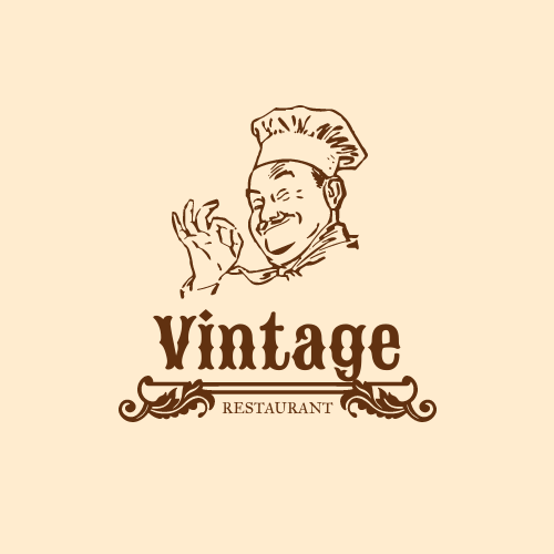 Logo template: Restaurant Logo Created With Illustration Of Cook (Created by InfoART's Logo maker)