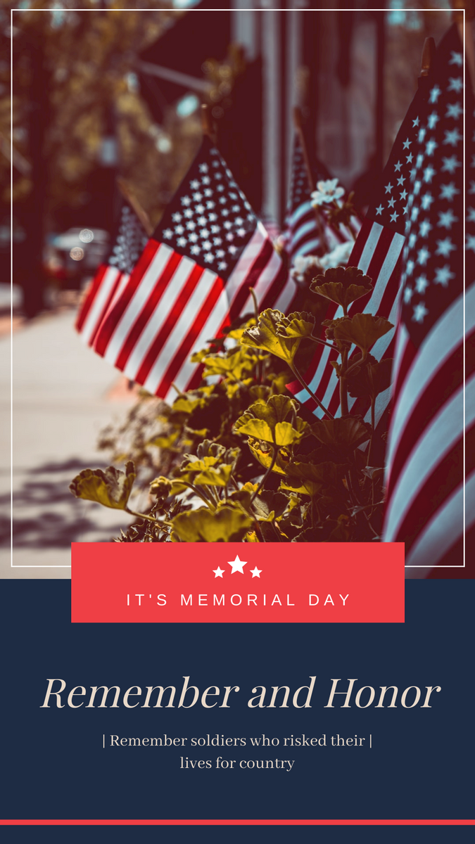 Instagram Story template: Blue And Red Flag Memorial Day Instagram Story (Created by InfoART's Instagram Story maker)
