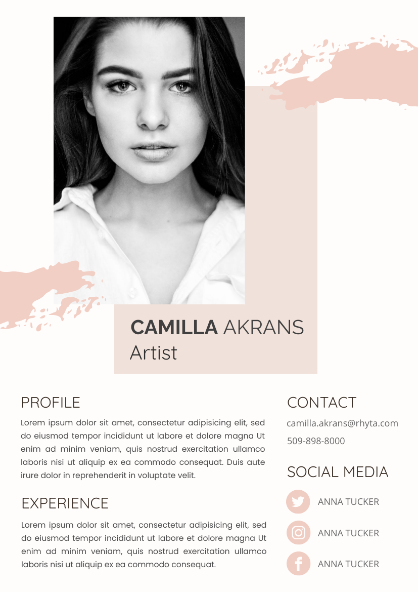 Resume template: Pink Resume 1 (Created by InfoART's Resume maker)