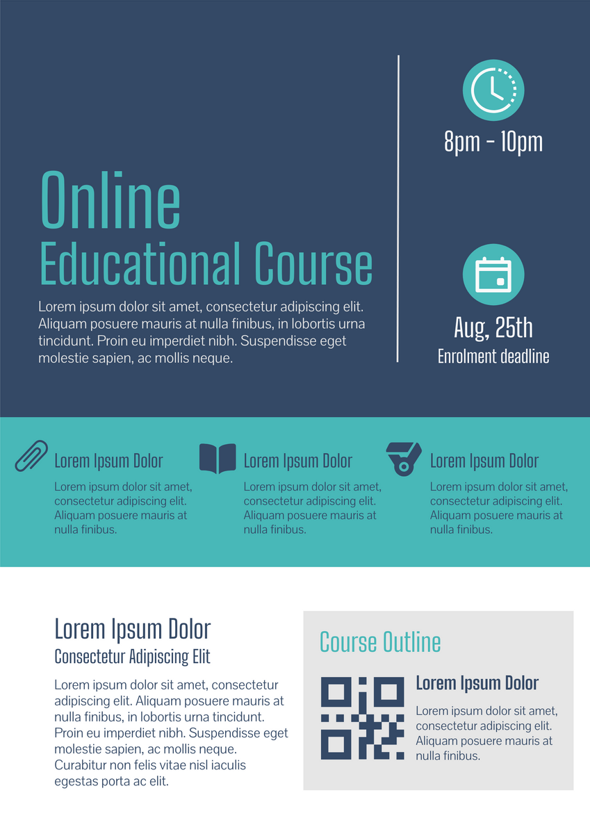 Poster template: Online Education Course (Created by InfoART's Poster maker)