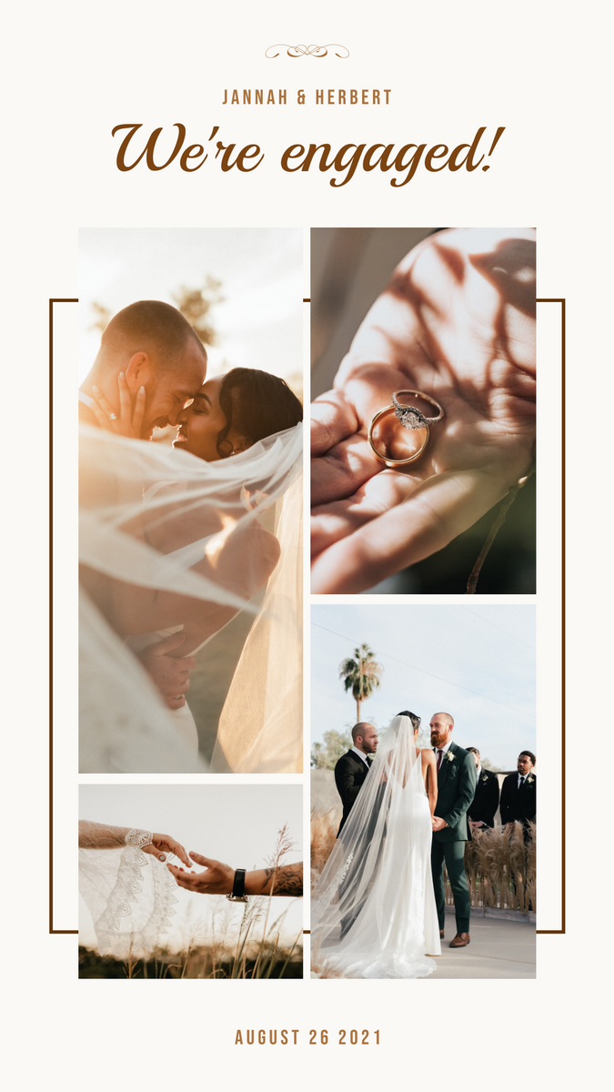 Instagram Story template: We're Engaged Wedding Instagram Story (Created by InfoART's Instagram Story maker)