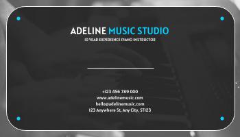 Business Card template: Blue Music Studio Business Card (Created by InfoART's Business Card maker)