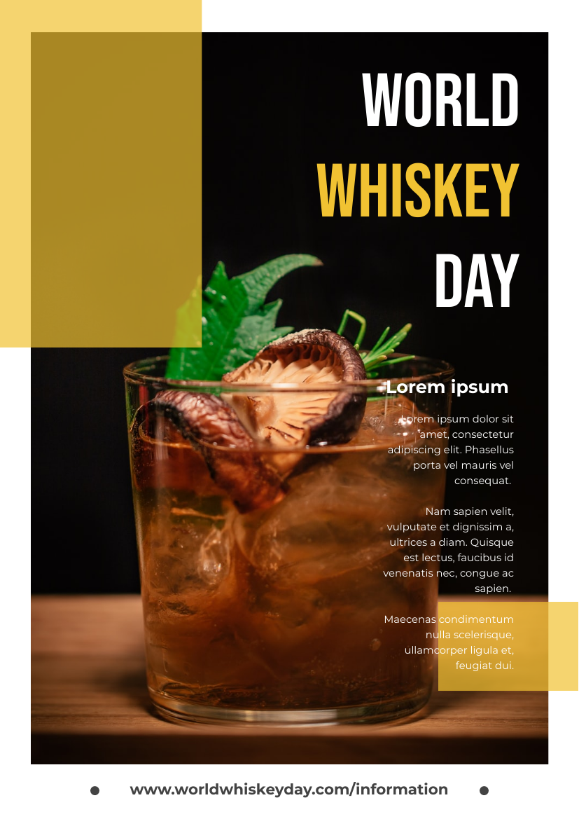 Flyer template: Photography World Whiskey Day Flyer With Details (Created by InfoART's Flyer maker)