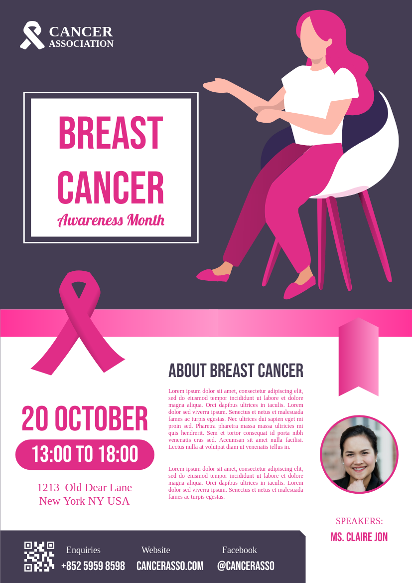 Flyer template: Breast Cancer Lecture Flyer (Created by InfoART's Flyer maker)