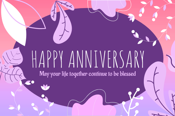 Greeting Card template: Floral Wedding Anniversary Greeting Card (Created by InfoART's Greeting Card maker)