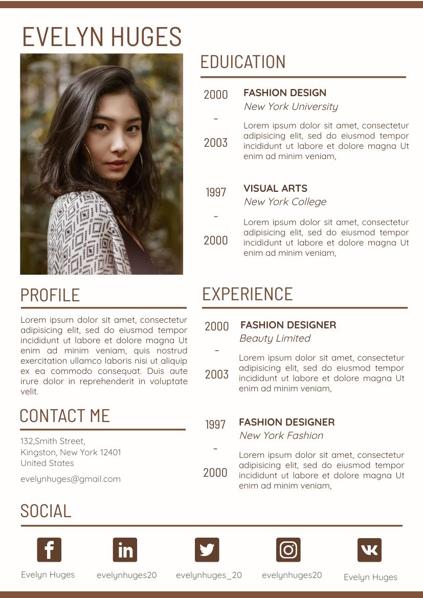 Resume template: Brown Resume (Created by InfoART's Resume maker)