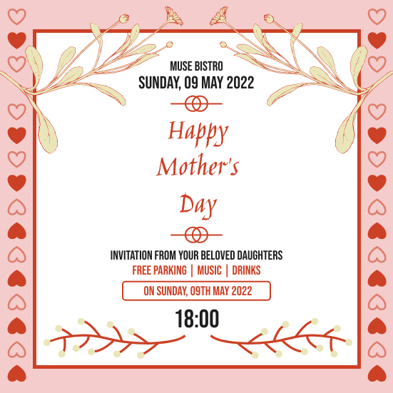 Invitation template: Mother's Day Bistro Invitation (Created by InfoART's Invitation maker)