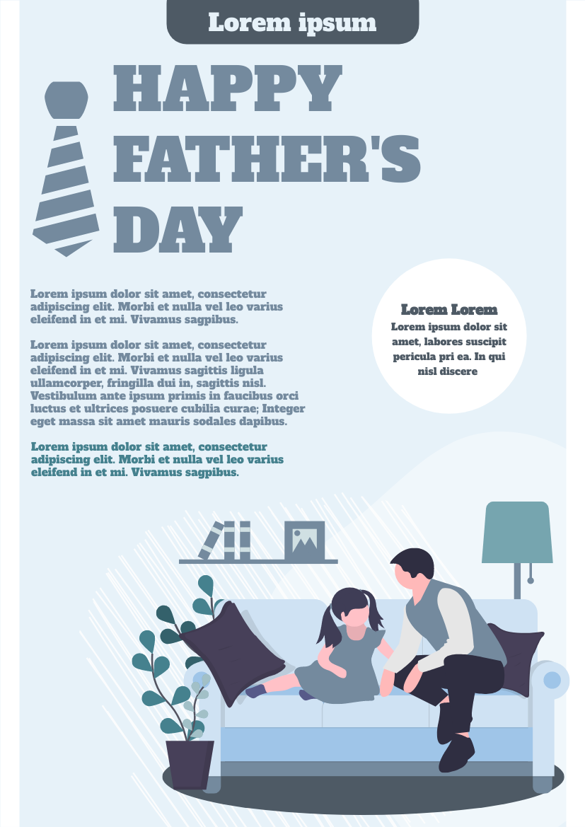 Flyer template: Illustrated Happy Father's Day Flyer (Created by InfoART's Flyer maker)
