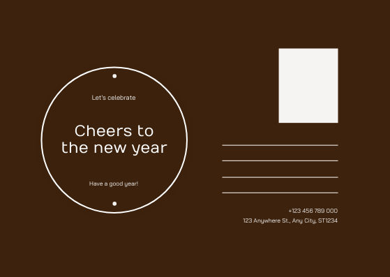 Postcard template: Brown New Year Four Photo Grids Postcard (Created by InfoART's Postcard maker)