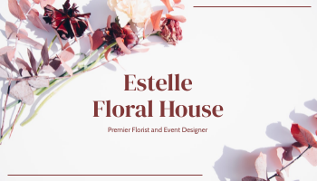 Business Card template: Rose Pink Floral House Business Card (Created by InfoART's Business Card maker)