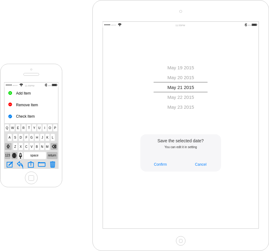 iOS 线框 template: Editing, Prompt Screen Mockup (Created by Diagrams's iOS 线框 maker)